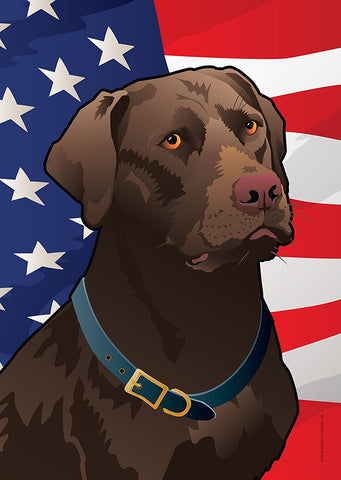 USA Chocolate Lab Large House Flag by Joe Barsin, 28x40