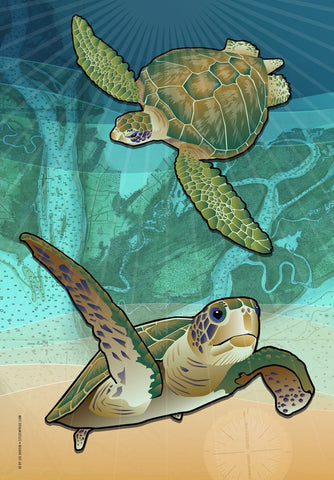 Coastal Sea Turtle of the Atlantic House Flag by Joe Barsin, 28x40