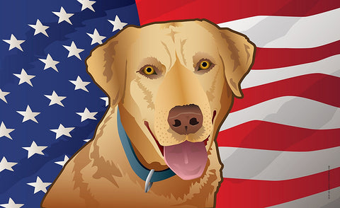 USA Yellow Lab Door Mat by Joe Barsin, 30x18