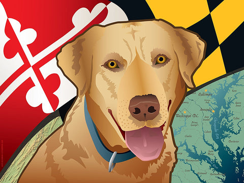 Maryland Yellow Lab Art Print by Joe Barsin, 16x12