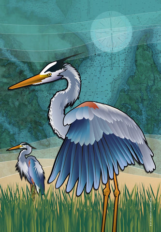 Coastal Blue Heron of the Chesapeake House Flag by Joe Barsin, 28x40