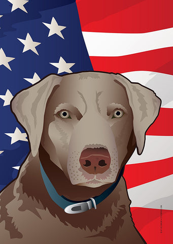 USA Silver Lab Garden Flag by Joe Barsin, 12x18