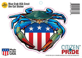Blue Crab USA Crest Sticker package