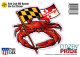 Packaging of Red Crab Maryland Banner Sticker