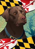 Maryland Chocolate Lab Garden Flag by Joe Barsin, 12x18