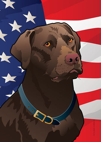 USA Chocolate Lab Garden Flag by Joe Barsin, 12x18