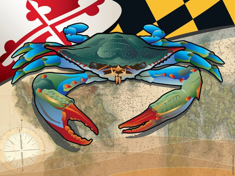 Maryland Blue Crab Art Print by Joe Barsin, 16x12