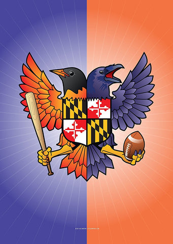 Birdland Baltimore Raven and Oriole Maryland Shield House Flag, 28x40