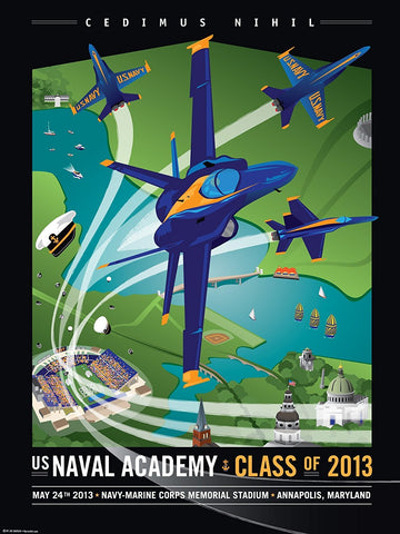 Blue Angels: 2013 Class, Naval Academy Art Print by Joe Barsin, 18x24