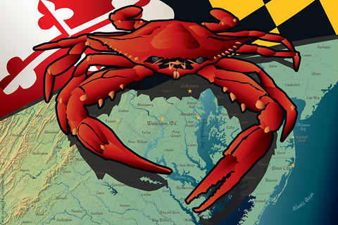 Maryland Red Crab Canvas Print by Joe Barsin, 12x8x.75