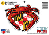 Packaging of Red Crab Maryland Crest Sticker
