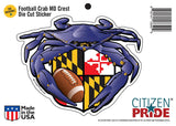 Packaging of Raven Crab Football Maryland Crest Sticker