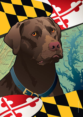 Maryland Chocolate Lab Large House Flag by Joe Barsin, 28x40