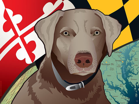 Maryland Silver Lab Art Print by Joe Barsin, 16x12
