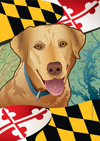Maryland Yellow Lab Garden Flag by Joe Barsin, 12x18