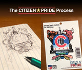Sketch phase for Chicago Sports Fan Crest Sticker, 4x5