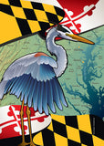 Maryland Blue Heron Coastal Garden Flag by Joe Barsin, 12x18