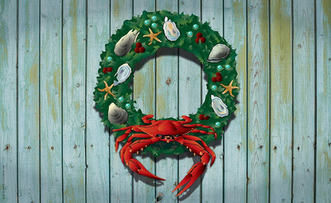 Coastal Holiday Crab Wreath Door Mat by Joe Barsin, 30x18