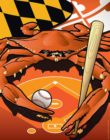 Sports Crab Oriole Poster Art Print by Joe Barsin, 12x14