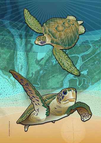 Coastal Sea Turtle of the Atlantic Garden Flag by Joe Barsin, 12x18