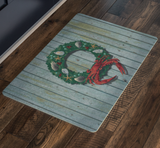 Coastal Holiday Crab Wreath, Doormat, 26x18""