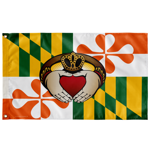 "Maryland flag Irish Claddagh, Large Flag, 60 x 36"" with 2 grommets"