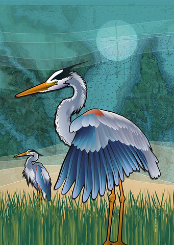 Coastal Blue Heron of the Chesapeake Garden Flag by Joe Barsin, 12x18