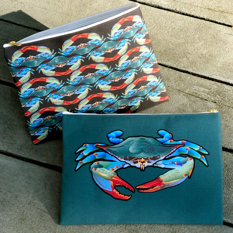Accessory Pouch: BlueCrab with Blue Crab Pattern by Citizen Pride