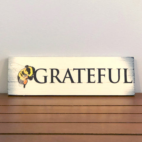 BEE Grateful Wooden Sign (3-SLAT), 14.5 x 4.75""