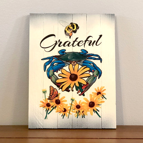 "BEE Grateful Wooden Sign (SS6), 8.75"" x 11.75"""
