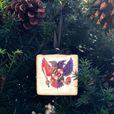 "Birdland Maryland Crest, Wooden 3x3"" Holiday Ornament with Satin Ribbon"