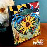 Sample of canvas wrap wall art of Blue Crab Maryland Black-eyed Susan from Citizen Pride
