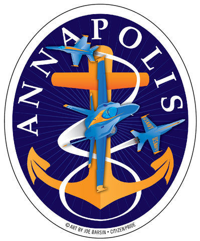 Blue Angels: Annapolis Aweigh Fouled Anchor Oval Sticker, 4x5