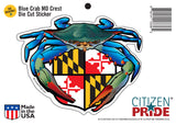 Blue Crab Maryland Crest Sticker card,  7x5