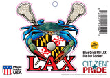Blue Crab Maryland LAX Sticker Card, 7x5