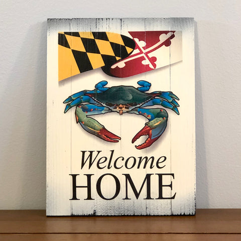 """Welcome Home"" Maryland Blue Crab, Wooden Sign, 8.75 x 11.75 x 1"""