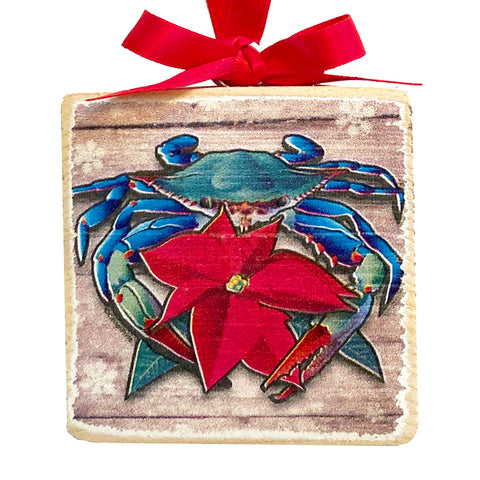 "Coastal Blue Crab Poinsettia, Wooden 3x3"" Holiday Ornament with Satin Ribbon"