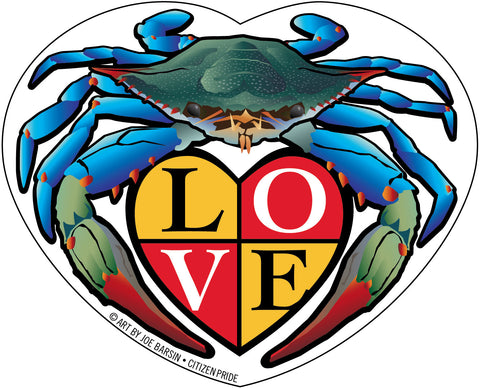 "Blue Crab LOVE Crest Die Cut Stickers, 5x4"" & 2x1.7"""