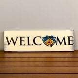 """Welcome"", Blue Crab w/ Black-Eyed Susan Flower, Wooden Sign (3-SLAT), 14.5 x 4.75"""