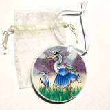 "Coastal Blue Herons Ceramic 3"" Circle Ornament, with Ribbon and Gift Bag"
