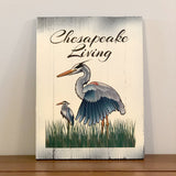 """Chesapeake Living"" Blue Herons, Wooden Sign, 8.75 x 11.75 x 1"""