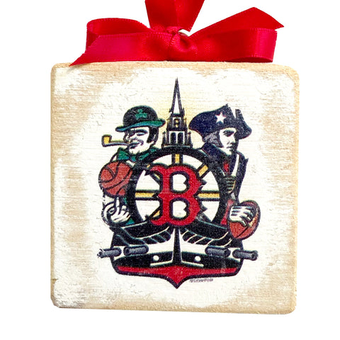 "Boston Sports Fan Crest, Wooden 3x3"" Holiday Ornament with Satin Ribbon"