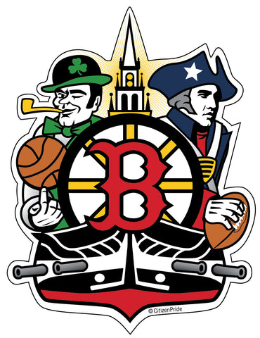 Boston Sports Fan Crest, sticker decal die cut vinyl, 4.2x5.5""