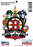 "Boston Sports Fan Crest, sticker decal die cut vinyl, 4.2x5.5"" sheet"