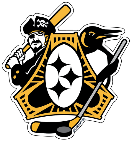 Pittsburgh Three Rivers Roar Sports Fan sticker decal die cut vinyl, 4.1x4.5