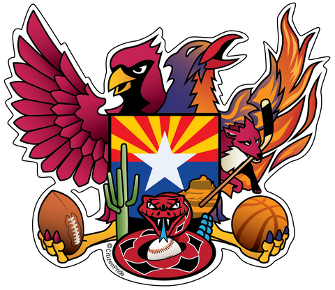 "Arizona Sports Fan Crest, Large Decal, die cut vinyl, 12"" to 24"" wide"