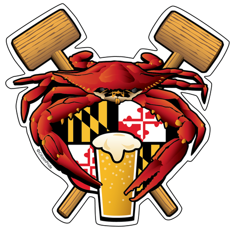 Maryland Crab Feast Crest sticker decal die cut vinyl, 4.5x4.5 inches