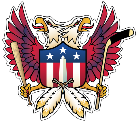 Washington DC Double Eagle Shield sticker decal die cut vinyl, 5.2x4.7