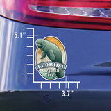 Measurements for Manatee Florida Crystal River sticker decal die cut vinyl, 3.7x5.1