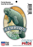 Package of the Measurements for Manatee Florida Crystal River sticker decal die cut vinyl, 3.7x5.1